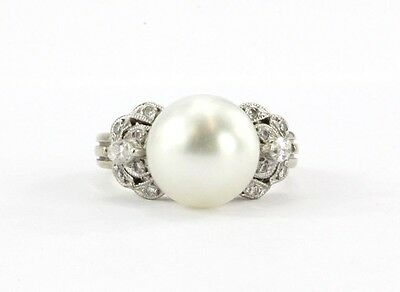 Vintage 18K White Gold 10mm South Sea Round Pearl & Diamond Ring