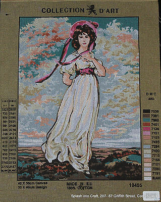 TAPESTRY CANVAS - COLLECTION d'ART - LADY WITH HAT