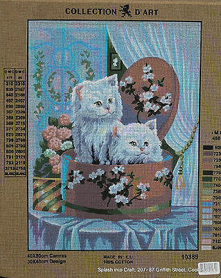 TAPESTRY CANVAS - COLLECTION d'ART - 2 KITTENS IN A BOX