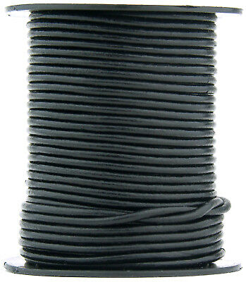 Xsotica® Black Round Leather Cord 1.5mm 25 meters (27.34 yards)