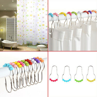 12pcs Stainless Steel Acrylic Rolling Shower Curtain Rings Hooks Roller Balls