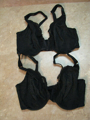 VICTORIA SECRET Vintage BLACK SHEER LACE Front Close UNDERWIRE BRA Lot of 2, 32D