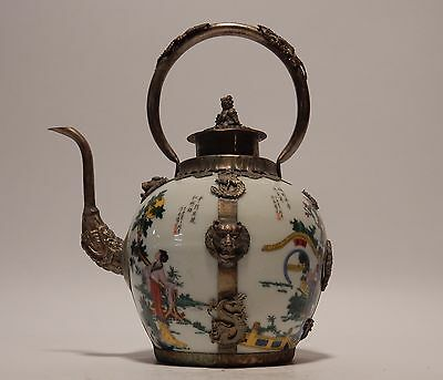 Antique Chinese Hand Painted Famille Rose and Silver Teapot Dragons, Phoenix.
