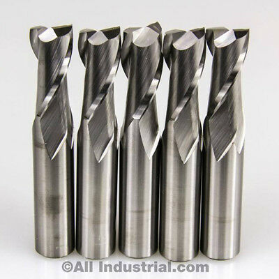 5 Pcs 2 Flute Solid Carbide 1/4 Diameter End Mill X 3/4 Loc X 2-1/2 Cnc Bit