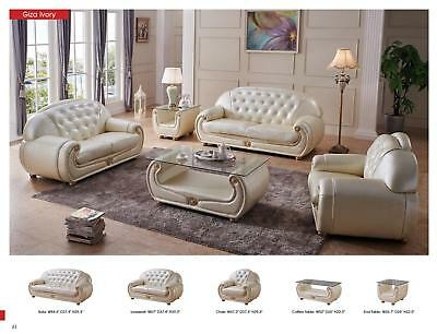 ESF Giza Contemporary Luxury Pearl Cream Leather Living Room Sofa Loveseat Chair