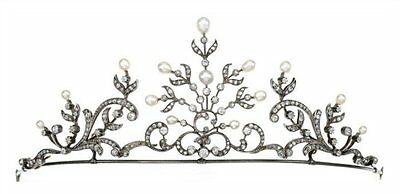 Victorian Estate 9.75 Ctw Rose Cut Diamond & Pearl 925% Sterling Sliver Tiara