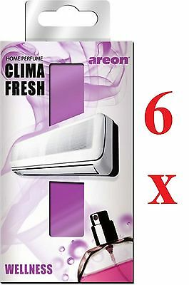 6 x Areon Clima Fresh Air Conditioning Fresheners Quality Perfume Home Office