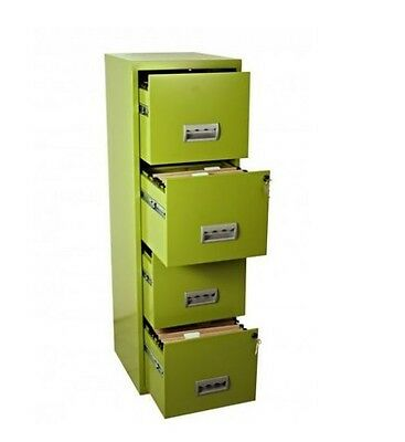 4 Drawer Metal Filing Cabinet Lockable Steel A4 Files Home & Office Storage Box