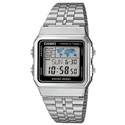 Casio Men's Digital Grey Dial Display Silver Watch- S/S Bracelet - World Time