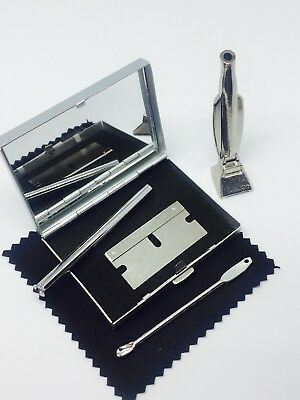 SNUFF SNORTING KIT, METAL SNUFF KIT mirror box PLUS SILVER SNIFF HOOVER!!