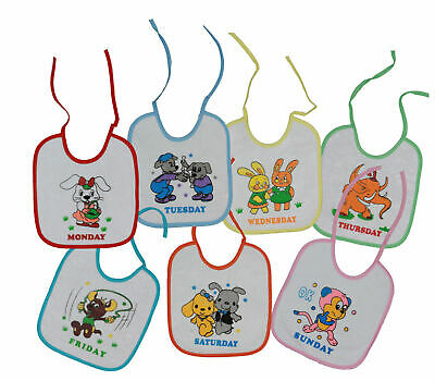 7 Days Baby Bibs With Pictures & Days Of The Week Wipe Clean Plastic Babies Bibs