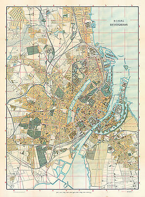 Copenhagen historical map from 1920 (N. C. Rom Publishers) Vintage Print Poster