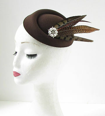 Brown Ivory Pheasant Feather Pillbox Hat Fascinator Headpiece Races Vintage 171