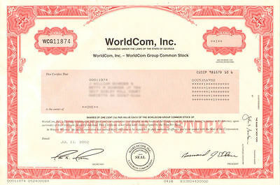 WorldCom stock certificate   Bernard Ebbers and Scott Sullivan accounting fraud