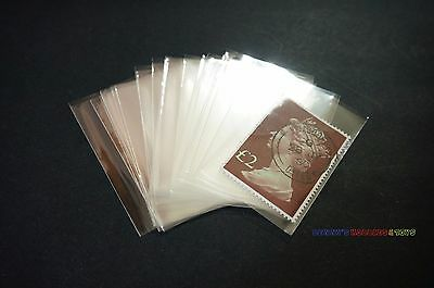 100pcs Philately Stamp Sleeves Protective Transparent OPP Pocket 55mm x 35mm