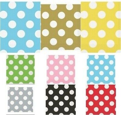 48  Decorative Polka Dots Luncheon Napkins Assorted Colours -  Party Tableware