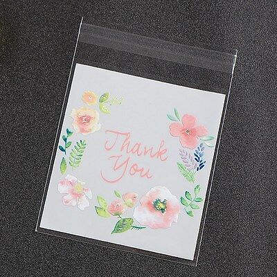Plastic Resealable Biscuit Bags Thank You Self-Adhesive About 100pcs