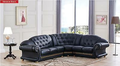 ESF Versachi Luxury Black Genuine Top Grain Italian Leather Sectional Sofa Right