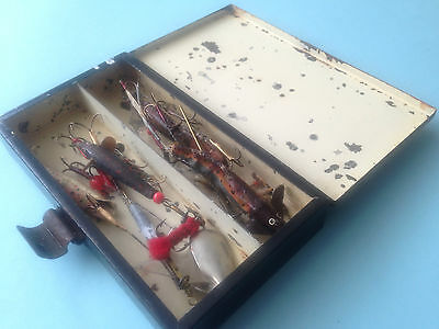 Scarce HARDY tackle tin with a selection of old fishing lures