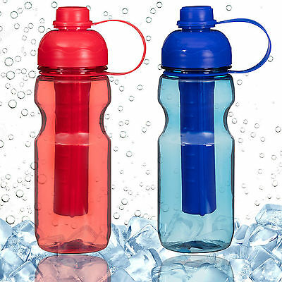 Portable Sports Water Bottle With Ice Stick Core Cold Hydration Cycling Hiking