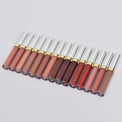 15 Farben Matt Fluid Make Up Nude Lippenstift Lip Gloss Wasserdicht Kosmetika