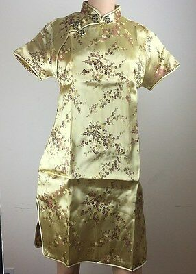 Chinese Women's Cheongsam Dress - Gold & Red Floral - Rayon - Size L, XL