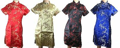 Chinese Women's Cheongsam Dress - Red Gold Black Blue Floral - Rayon -  New