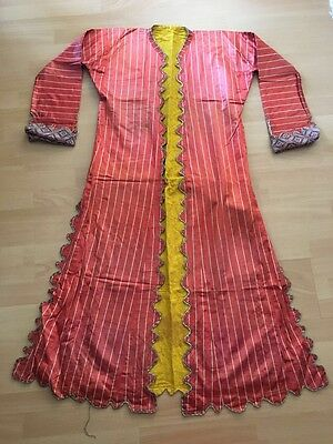 Antique Turkish Hand Embroidered On Hand Woven Silk Robe Anteri For Women-3