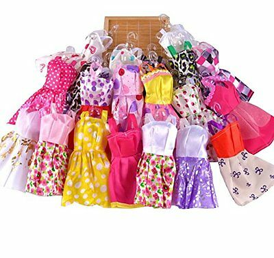 10 pcs Fashion Handmade Party Clothes Dresses outfit for Barbie Doll Toy Rondom