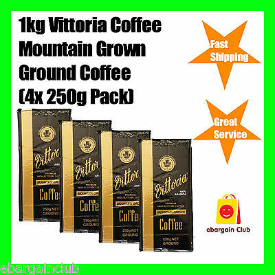 1kg Vittoria Mountain Grown Ground Coffee 4x250g Pack Premium Coffee