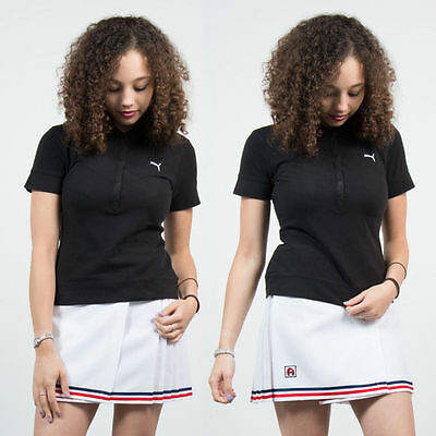 Vintage Retro Puma Polo T-Shirt Top Tennis Style Casual Womens Fitted 10