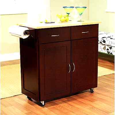 Portable Kitchen Island Cart Rolling Cupboard Cabinet Spice Rack ...