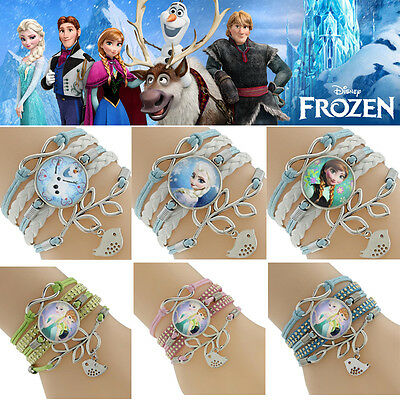 Frozen inspired friendship leather charm bracelet 6 styles