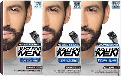 3 x Just For Men Moustache and Beard Facial Hair Gel Colourant Men's Hair Dyes