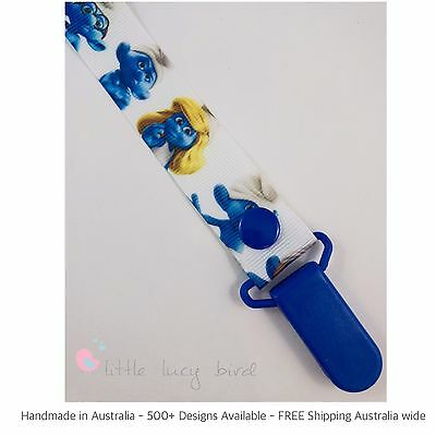 Smurfs Hand Made Dummy Clip - Pacifier Clips - Soother Chain (DC100287)