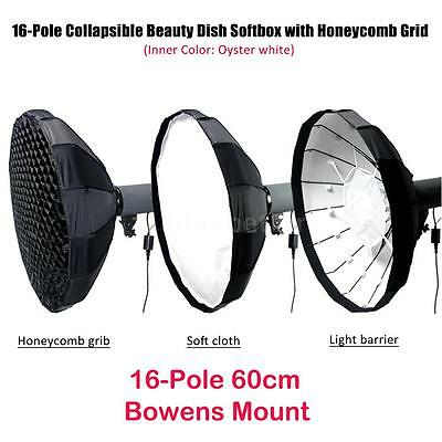 PhotoStudio Collapsible Beauty Dish Softbox Diffuser Honeycomb Grid Bowens Mount