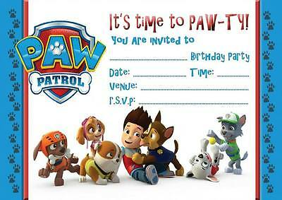 Paw Patrol Birthday Party Invitations Invites  With Or Without Envelopes