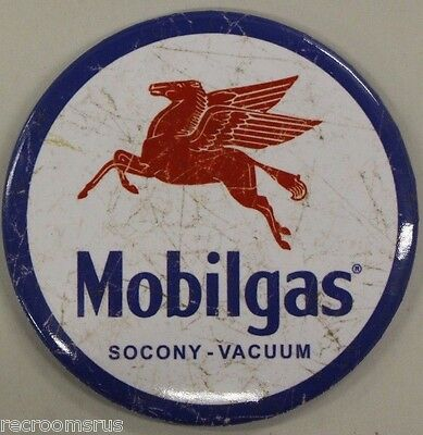 "MOBIL mobilgas socony vacuum 3"" metal Magnet Pegasus gas and oil gasoline"