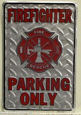 FIREFIGHTER Parking Only embossed metal sign with fire dept. logo rescue sp80010