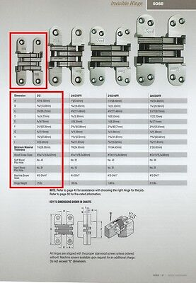 """Soss #212-Us26D Concealed Hinge, Satin Chrome, For 1-1/8"""" Or Thicker Doors"""