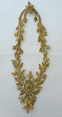 Antique Ottoman Turkish Gold Metallic Hand Embroidery For Applique .