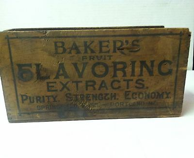 Vintage Wood Box (small crate) BAKERS Flavoring Extract with dovetail edges.