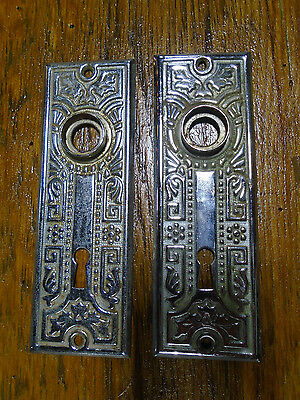Pair  Vintage  Victorian Eastlake Backplates - Chrome!!  (4738)