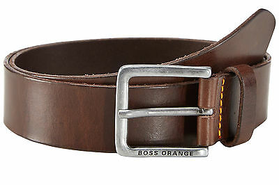 Hugo Boss Mens Genuine Leather Belt Antique Silver-Tone Prong Buckle Jeek Brown