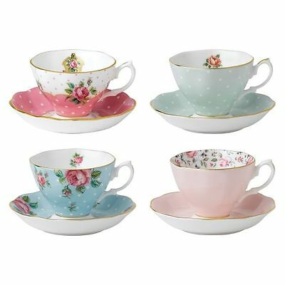 NEW Royal Albert Vintage Mix Teacup & Saucer (Set of 4)