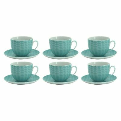 NEW NF Living Spice Tea Cup & Saucer (Set of 6) in Brown, Green