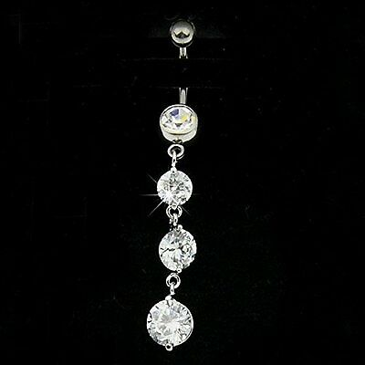 2016 Crystal Long Dangle Body Piercing Belly Button Ring Navel Bar Jewelry #7