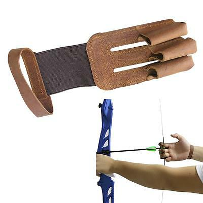 Archery Protective 3 Finger Gloves Guard Gear Cow Leather Hunting Shooting Bow