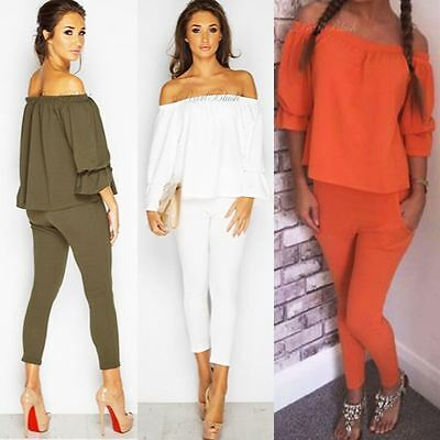 New Womens Ladies Off The Shoulder Dress Celeb Summer Suit Set Strapless Size