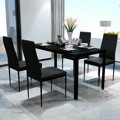 New Contemporary Dining Set with Table and 4 Chairs Black Kitchen Furniture